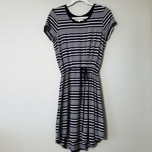 Olive and Oak navy and grey striped dress casual S